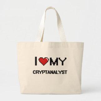 Eu amo meu Cryptanalyst Sacola Tote Jumbo