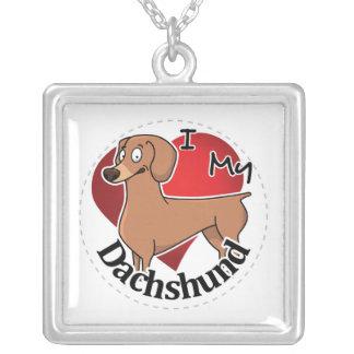 Eu amo meu Dachshund engraçado & bonito adorável Colar Banhado A Prata