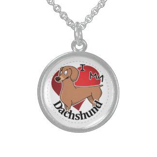 Eu amo meu Dachshund engraçado & bonito adorável Colar De Prata Esterlina