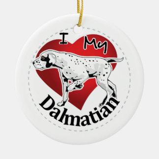 Eu amo meu Dalmatian engraçado & bonito adorável Ornamento De Cerâmica