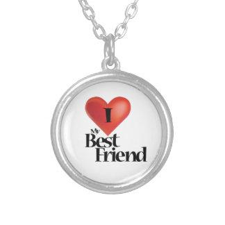 Eu amo meu design do melhor amigo colar banhado a prata