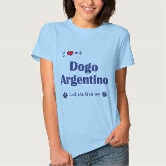 Eu amo meu Dogo Argentino (o cão fêmea) Camisetas