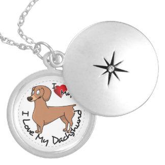 Eu amo meu engraçado adorável feliz & o Dachshund Colar Medalhão