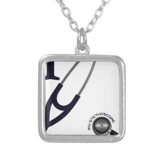 Eu amo meu estetoscópio - azul colar banhado a prata