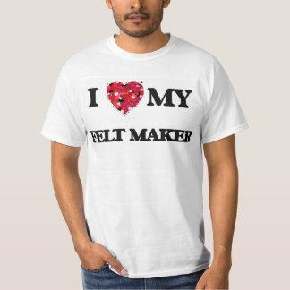 Eu amo meu fabricante de feltro camisetas