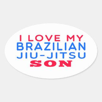 Eu amo meu filho brasileiro de Jiu-Jitsu Adesivos Em Formato Oval