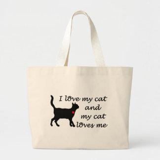 Eu amo meu gato e meu gato ama-me bolsas de lona