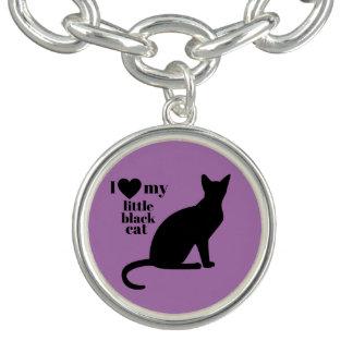 Eu amo meu gato preto pequeno bracelete