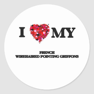 Eu amo meu Griffons apontando Wirehaired francês Adesivo