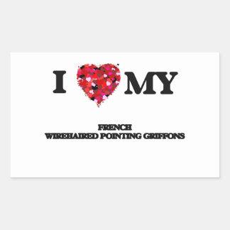 Eu amo meu Griffons apontando Wirehaired francês Adesivo Retangular