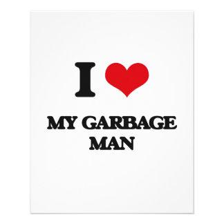 Eu amo meu homem de lixo modelos de panfleto