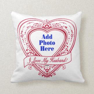 Eu amo meu marido! Corações do vermelho da foto Almofada
