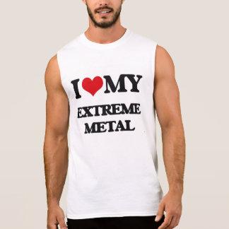 Eu amo meu METAL EXTREMO Camisa Sem Mangas