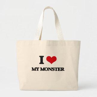 Eu amo meu monstro sacola tote jumbo