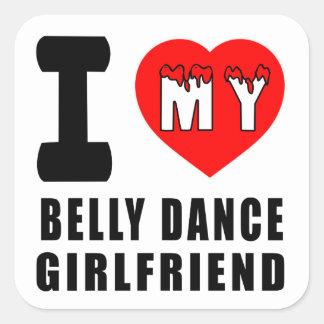 Eu amo meu namorada da dança do ventre adesivo quadrado