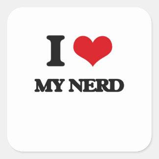 Eu amo meu nerd adesivos quadrados