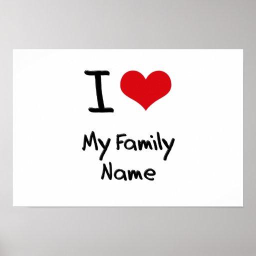Eu amo meu nome de família impressão
