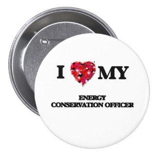 Eu amo meu oficial da conservação de energia bóton redondo 7.62cm