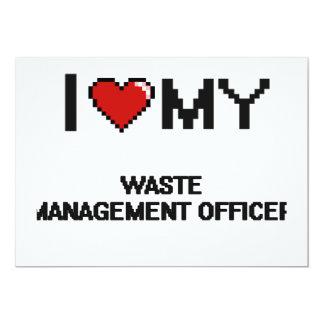 Eu amo meu oficial da gestão de resíduos convite 12.7 x 17.78cm