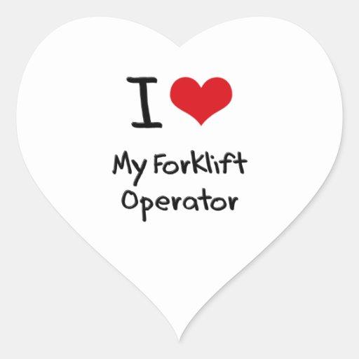 Eu amo meu operador da empilhadeira adesivo de coração