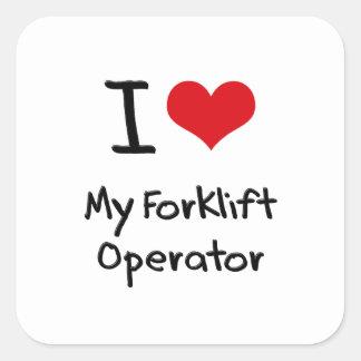 Eu amo meu operador da empilhadeira adesivos quadrados