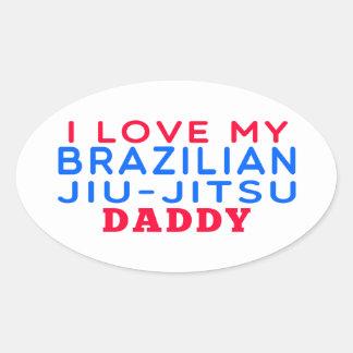 Eu amo meu pai brasileiro de Jiu-Jitsu Adesivo Oval