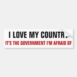 Eu amo meu país, ele sou o governo que eu estou re adesivo para carro