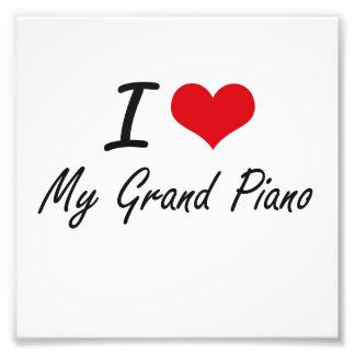 Eu amo meu piano de cauda impressão de foto