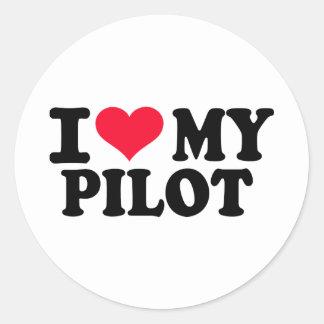 Eu amo meu piloto adesivos em formato redondos
