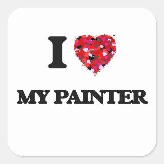 Eu amo meu pintor adesivo quadrado