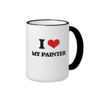Eu amo meu pintor caneca com contorno