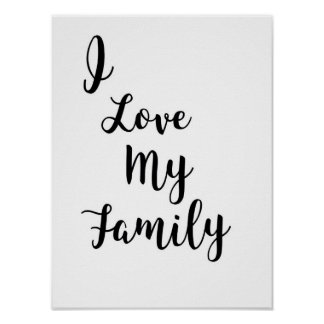 Eu amo meu poster da família