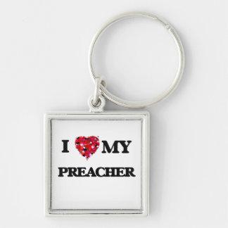 Eu amo meu pregador chaveiro quadrado na cor prata