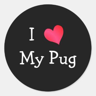 Eu amo meu Pug Adesivo