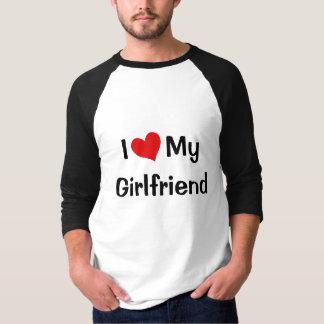 Eu amo meu Raglan do namorada Camiseta