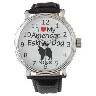 Eu amo meu relógio americano do cão Eskimo