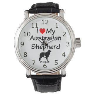 Eu amo meu relógio australiano do cão de pastor