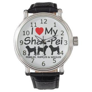 Eu amo meu relógio de três cães de Shar Pei do