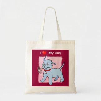 Eu amo meu rosa do cão de filhote de cachorro - sa bolsas