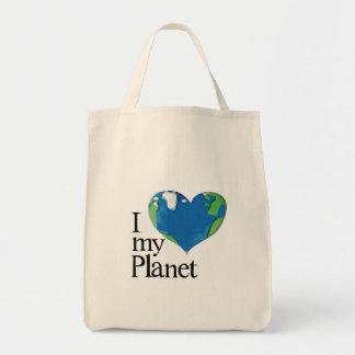 eu amo meu saco do planeta sacola tote de mercado