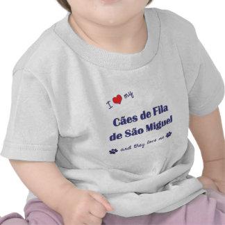 Eu amo meu Sao Miguel de Caes de Filamento de (os  Camisetas