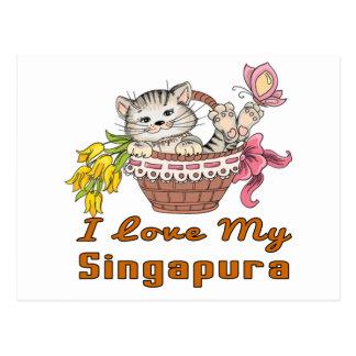 Eu amo meu Singapura Cartão Postal