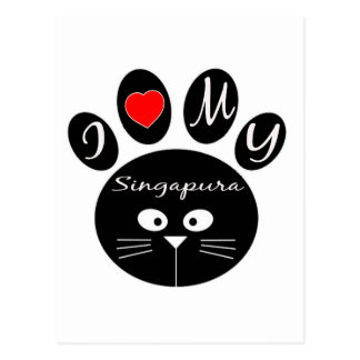 eu amo meu Singapura. Cartoes Postais