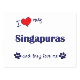 Eu amo meu Singapuras (os gatos múltiplos) Cartão Postal
