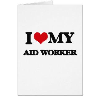 Eu amo meu trabalhador de auxílio cartoes