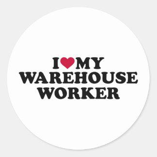 Eu amo meu trabalhador do armazém adesivo