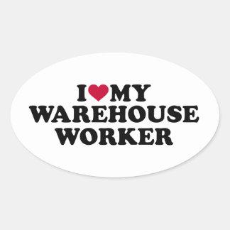 Eu amo meu trabalhador do armazém adesivo oval