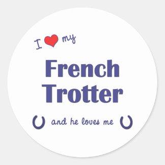 Eu amo meu trotador francês (o cavalo masculino) adesivos em formato redondos