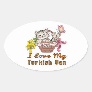 Eu amo meu Van turco Adesivo Oval