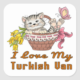 Eu amo meu Van turco Adesivo Quadrado